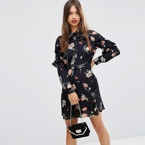 ASOS Floral Dress with Ruffle Sleeves